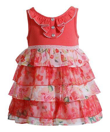 Another great find on #zulily! Coral Floral Tiered Chiffon Dress - Infant #zulilyfinds