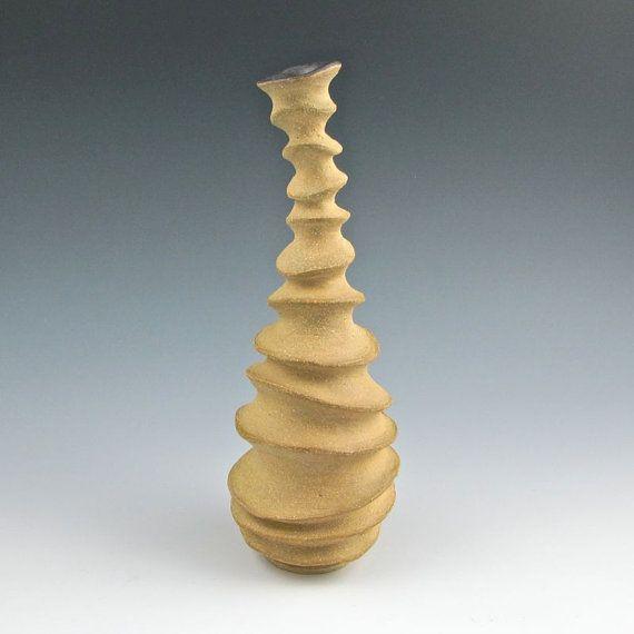 Carved Modern Sculptural Ceramic Pottery Bud Vase  by jtceramics, 65.00