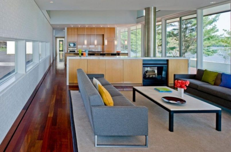 Living Room With Fur Carpet Beside Mini Bar Kitchen How To Make Masculine Interior