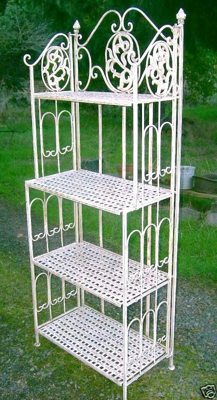 Wrought Iron Bakers Rack  French Vintage