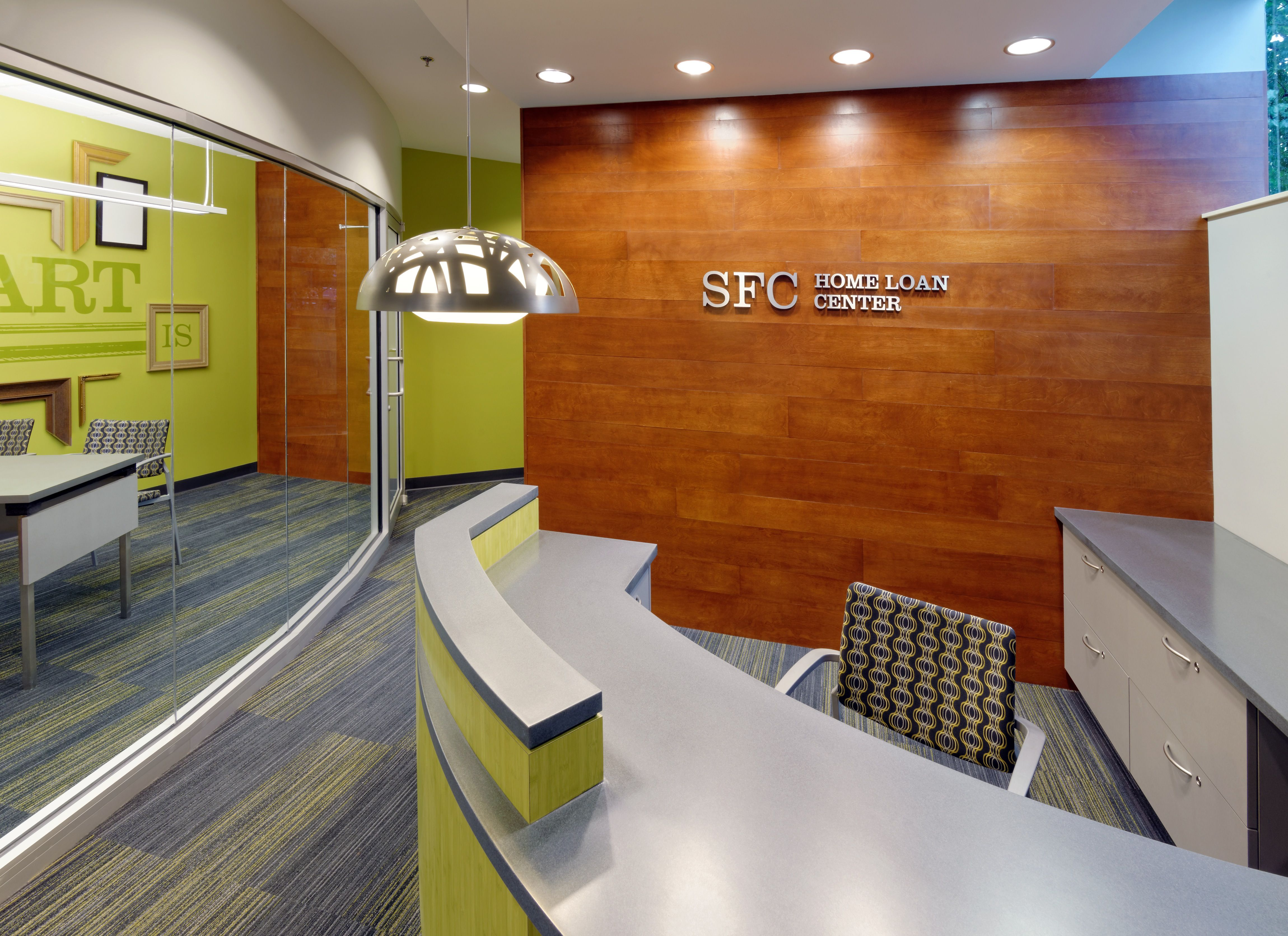Fresh Interior Design Office fresh office interior design supported by bright theme and contemporary furniture Commerical Interior Design Sfc Home Mortgage Center Modern Financial Reception Area Bright Green