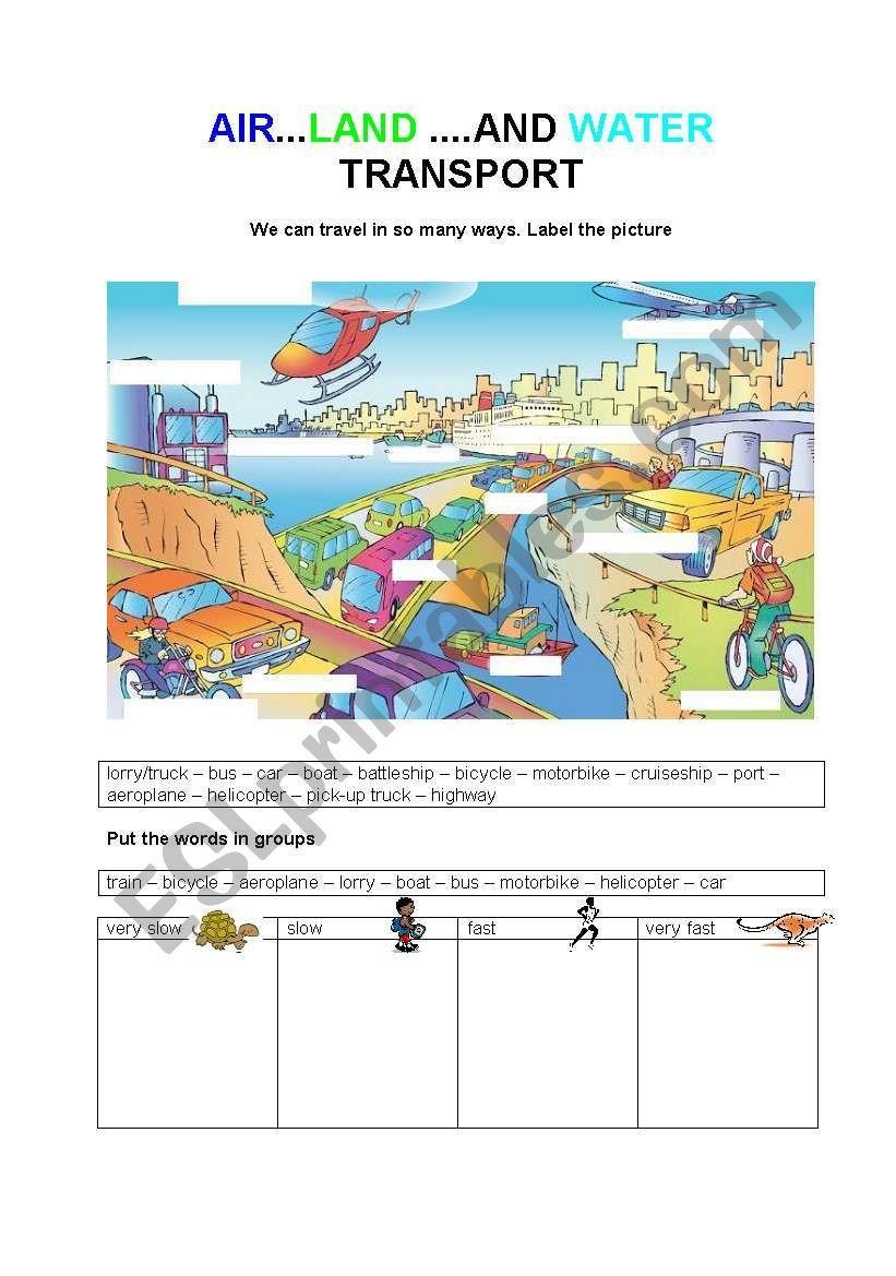 Air Land And Water Transport Worksheet Transportation Preschool Esl Lesson Plans Transportation [ 1169 x 821 Pixel ]