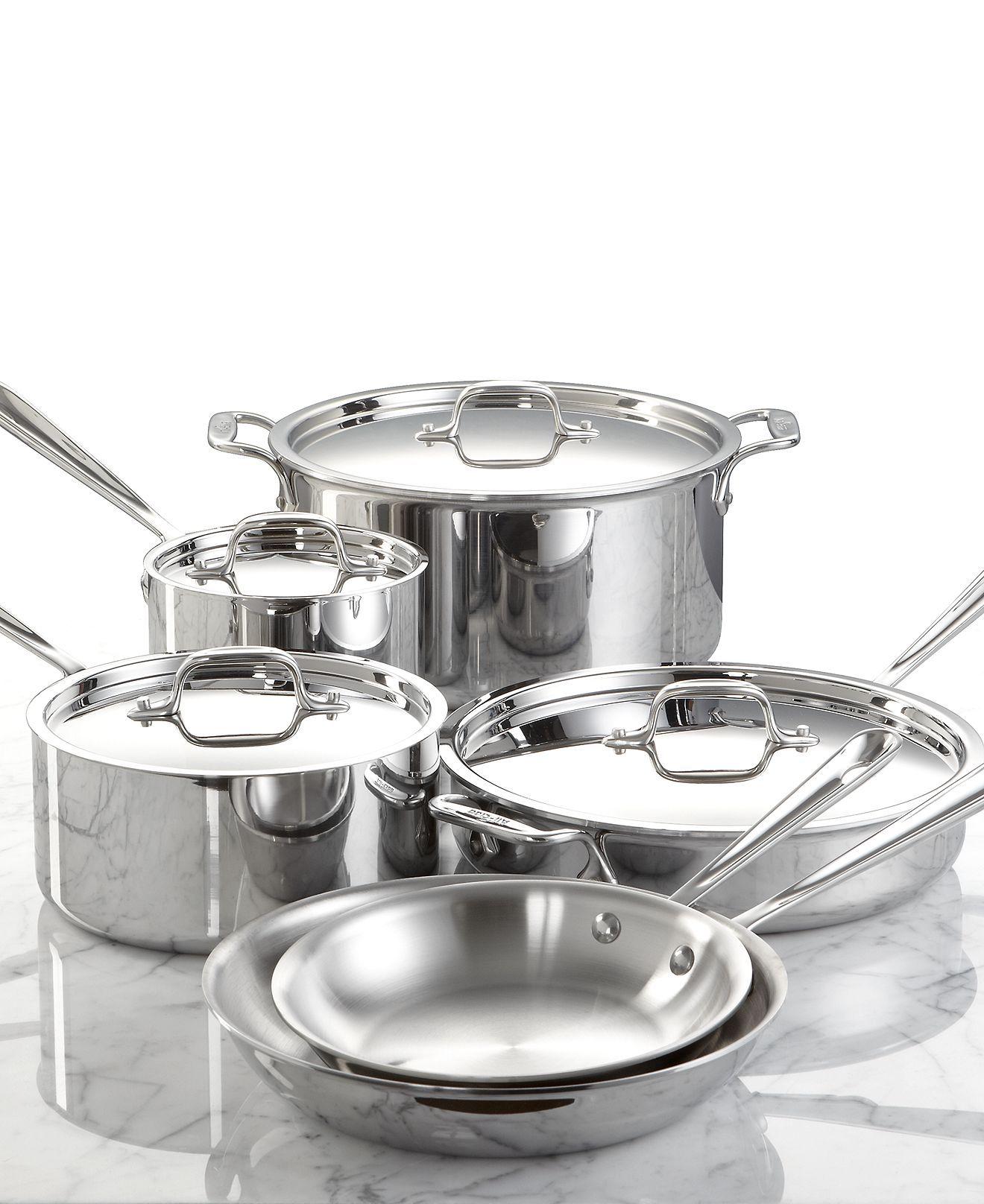 Allclad stainless steel cookware 10 piece set cookware