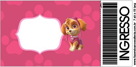 Convite Ingresso Patrulha Canina para Meninas
