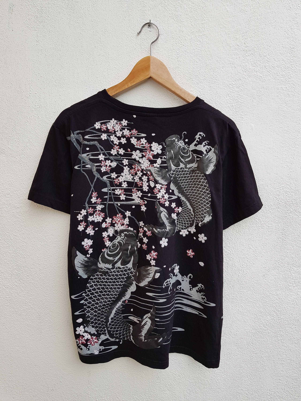 c70ccebd Vintage 90s Streetwear Hip-hop Traditional Japanese Art Koi Fish and Sakura  Flower Sukajan Souvenir T-Shirt Size L by BubaGumpBudu on Etsy