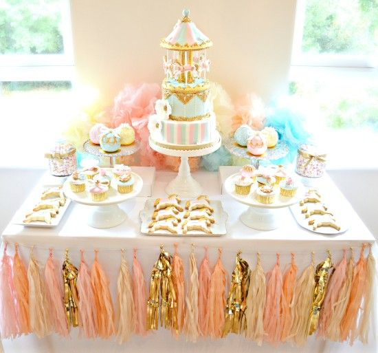 chrie kelly pink blue and gold carousel cake table first birthday party http