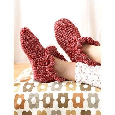 Ruffle Edge Slippers Crochet Patterns Patterns Yarnspirations