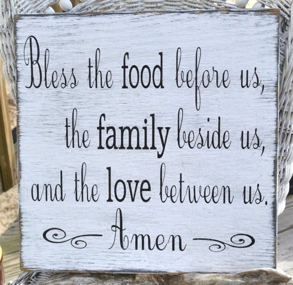 Rustic Bless The Food Before Us Sign Kitchen Décor Dining Room
