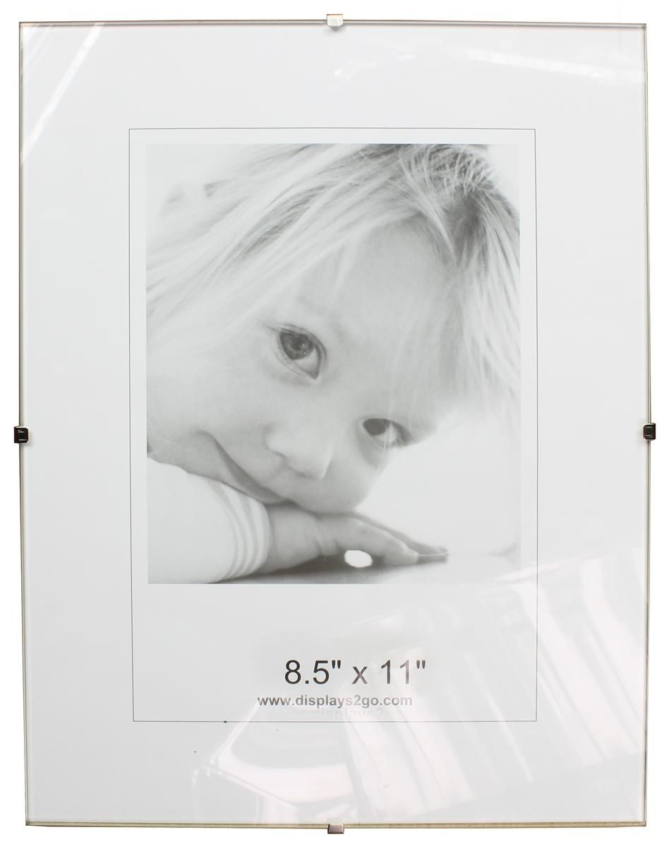 85 X 11 Frameless Picture Frame For Wall Mount With Side Clips