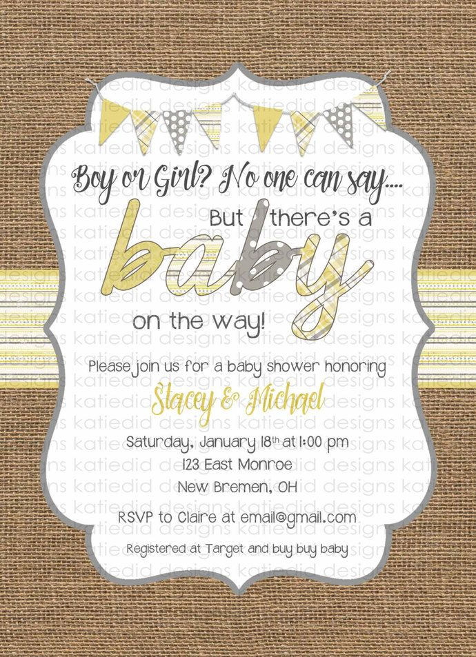 Gender neutral baby shower invitations burlap yellow gray bunting - how to word a baby shower invitation