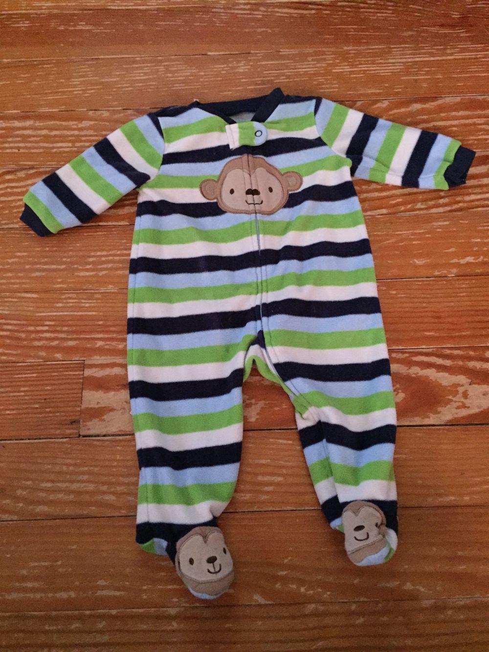 1717e7405 Carter s Child of Mine 3-6 months striped monkey fleece sleeper