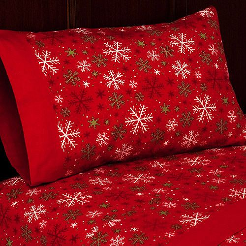 christmas bedding | Holiday Flannel Sheet Set: Bedding : Walmart ...