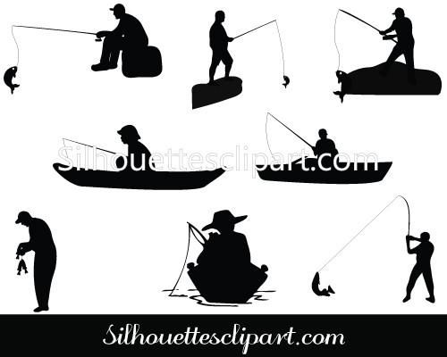 The Man Fishing Silhouette Is Useful For Sea Vector Illustrations Boat Vector Graphics Etc Comes With Eps Png And Fish Silhouette Fish Man Silhouette Vector