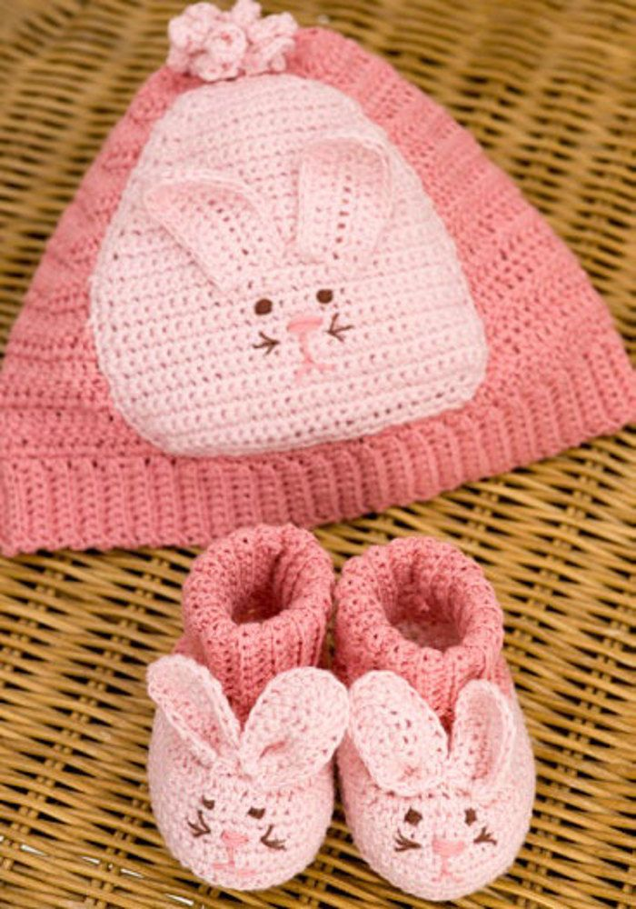 Bunny Hat & Booties in Aunt Lydia\'s Bamboo Crochet Thread Size 10 ...