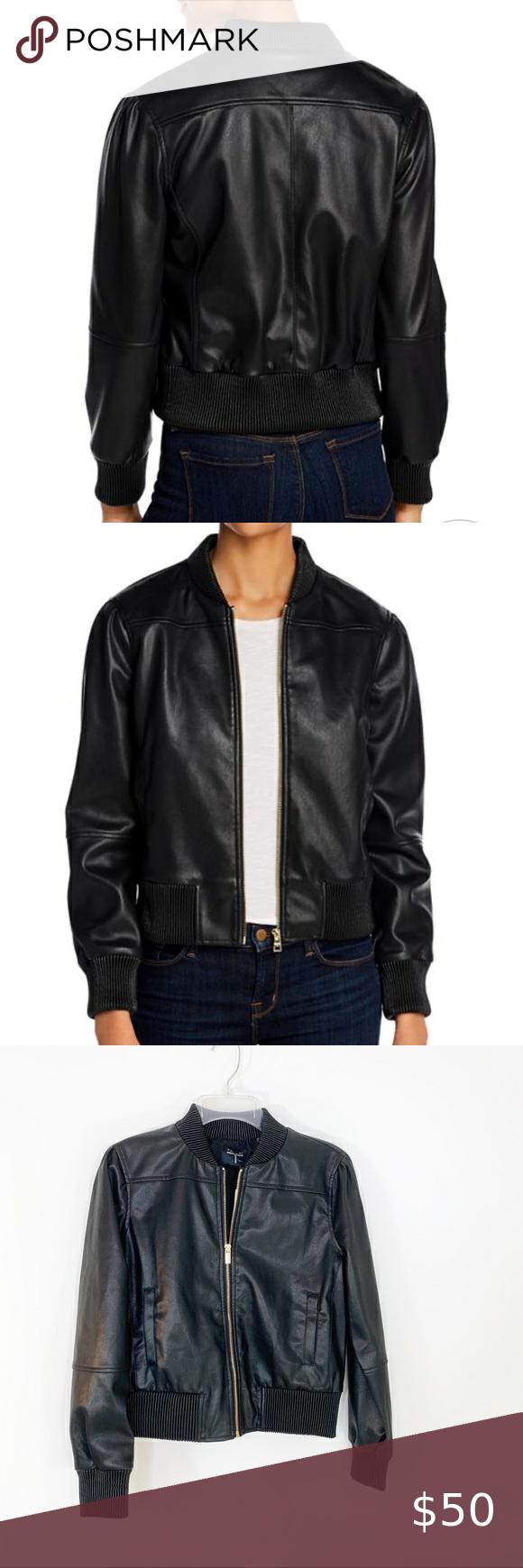 Tahari Vegan Faux Leather Black Bomber Jacket Nwt In 2020 Black Bomber Jacket Faux Leather Bomber Jacket Patterned Bomber Jacket [ 1740 x 580 Pixel ]