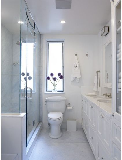 small, white bathroom with glass shower Bathroom in 2018 - Bathroom Glass