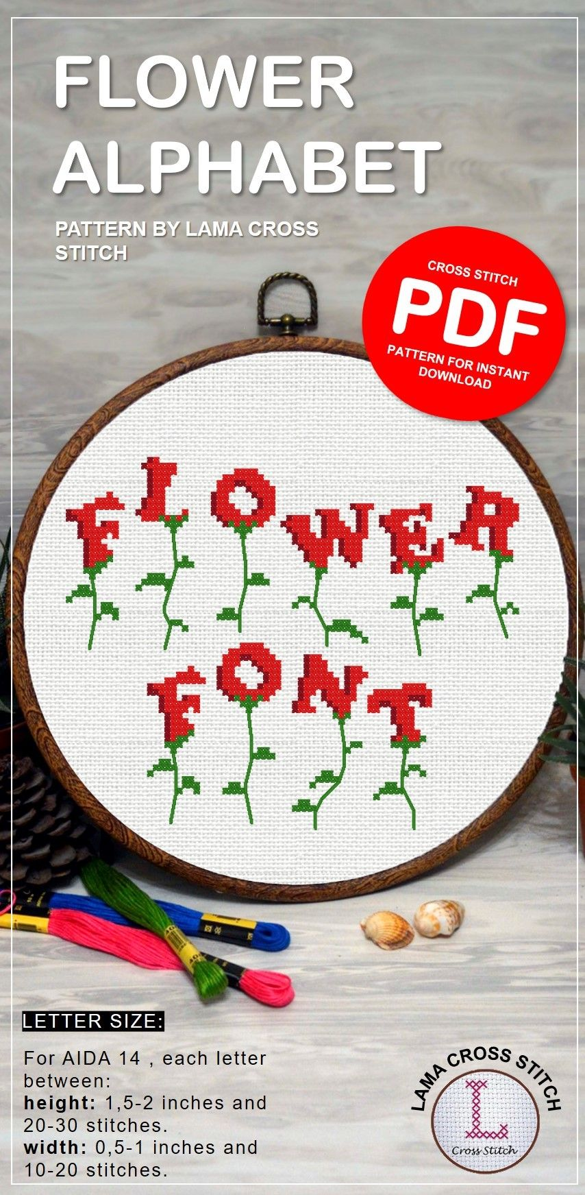 Flower cross stitch alphabet , plant embroidery font , botanical cross stitch ornament