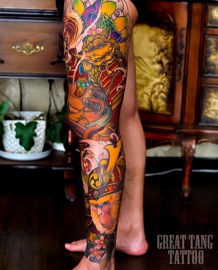 Japanese Leg Sleeve Tattoo By Greattangtattoo Swipe To The Side To See All 4 Photos Japaneseink Japanesetattoo Irezumi รอยส กท ขา รอยส กต นขา รอยส กแขน