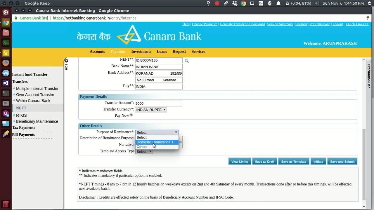 How to transfer money in canara bank Netbanking to other bank ...