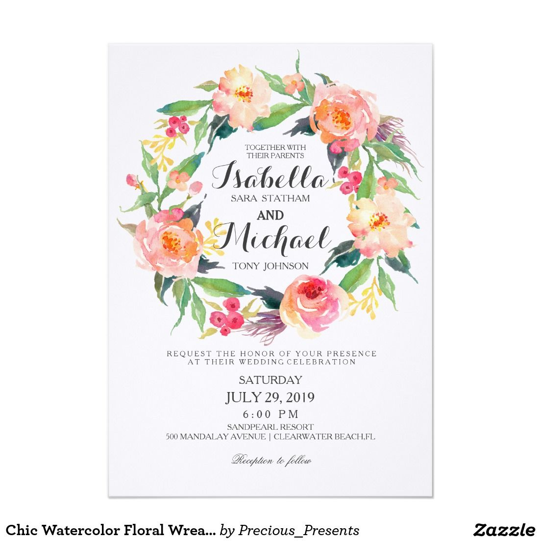 Chic Watercolor Floral Wreath Wedding Invitation Floral Wreath