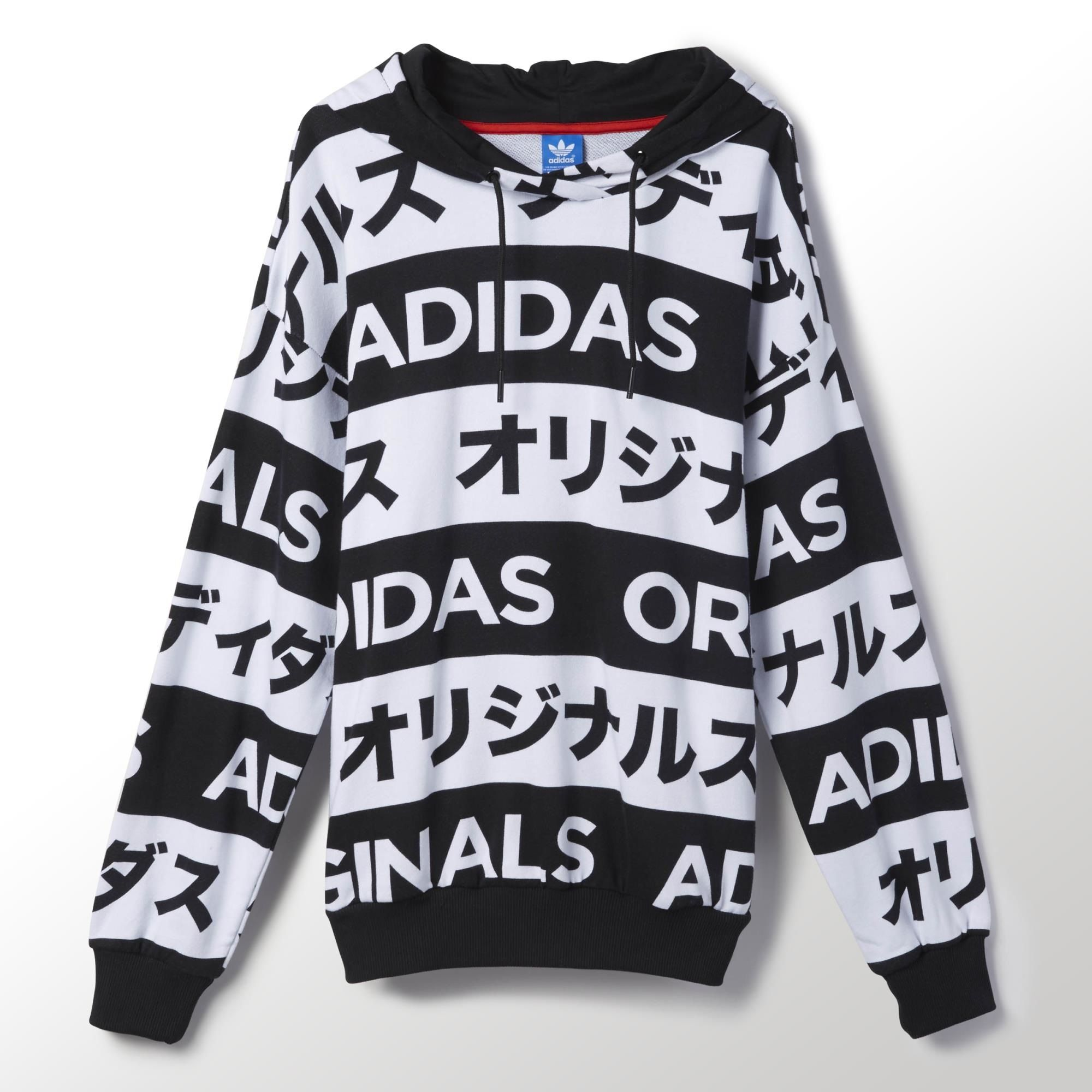 12af89f0f454 adidas Originals makes a statement in any language. Black and white bands  of Japanese katakana characters give bold graphic style to this women s  hoodie.