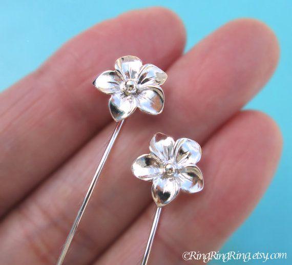 Plumeria Flower Earrings Long Stem Sterling Silver Gift Jewelry Dangle Stud E 091
