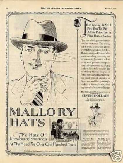 8350972084b83 1925 Mallory Hats for men. From vintageadbrowser