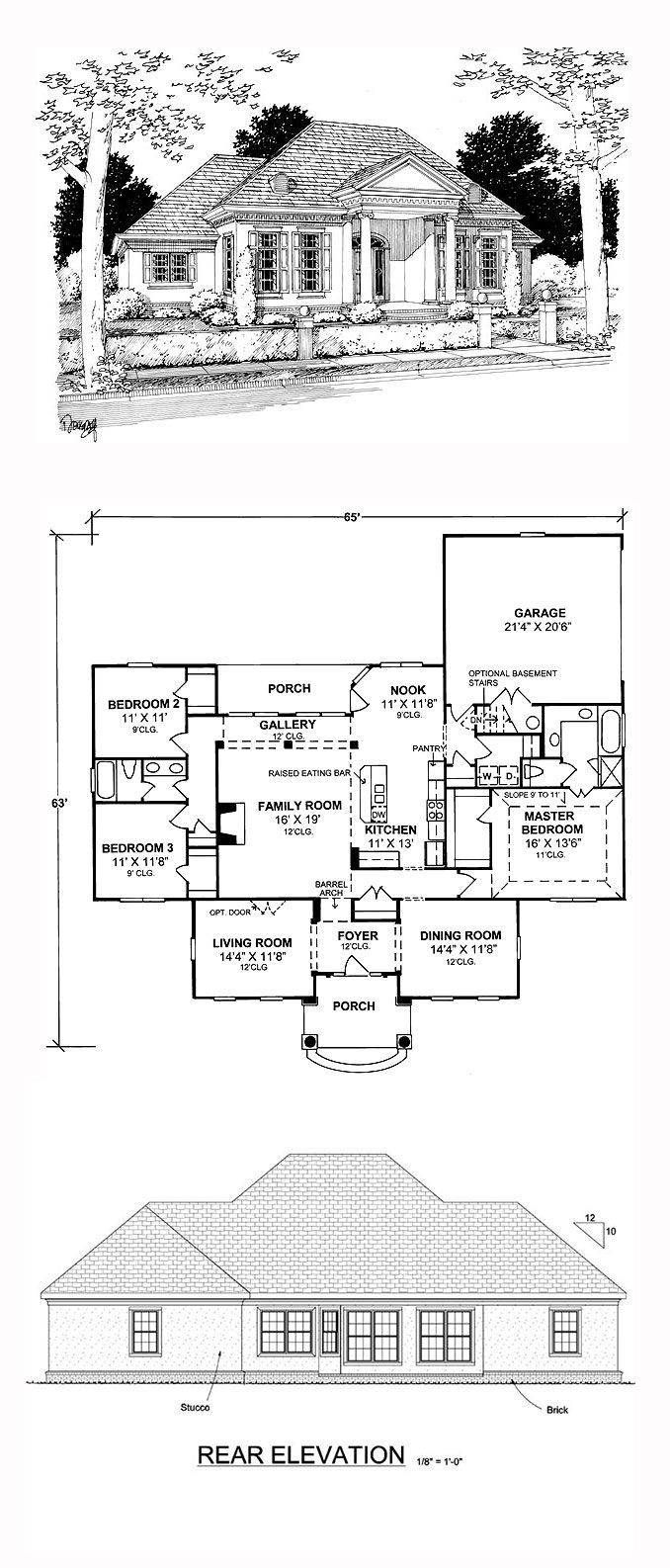 Greek Revival Style House Plan with 3 Bed 2 Bath 2 Car Garage