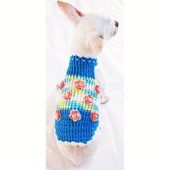 Blue Dog Harness Beautiful Peach Rose Flower Chihuahua Clothes D ...