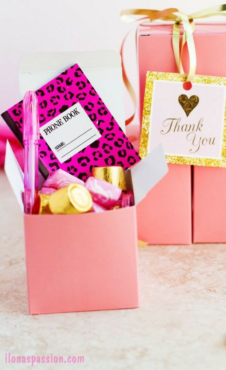 DIY Pink and gold birthday favor box idea with chocolate candies ...