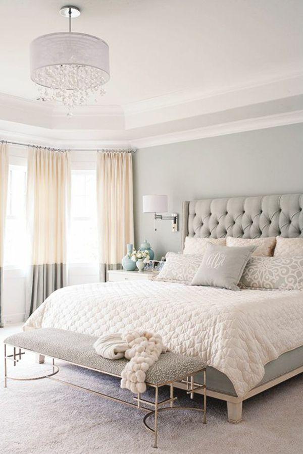 La chambre à coucher- fraîcheur en gris, oui c\'est possible ...