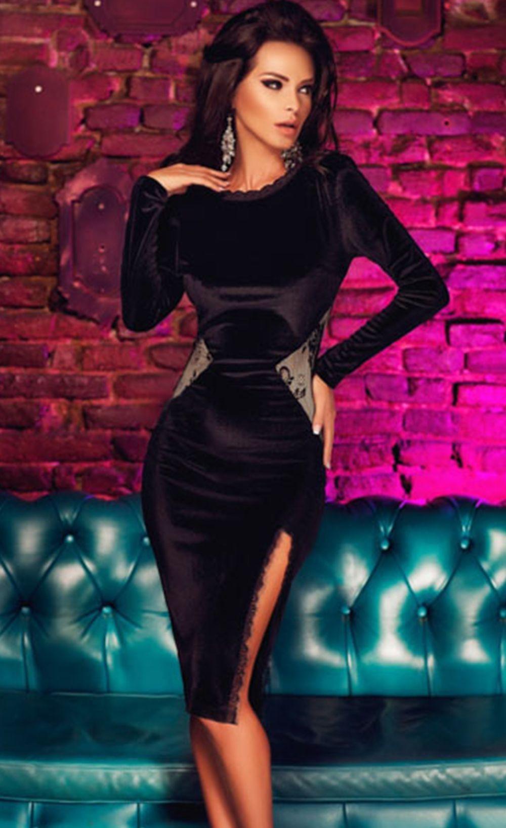 black long sleeve velvet midi dress prom dresses