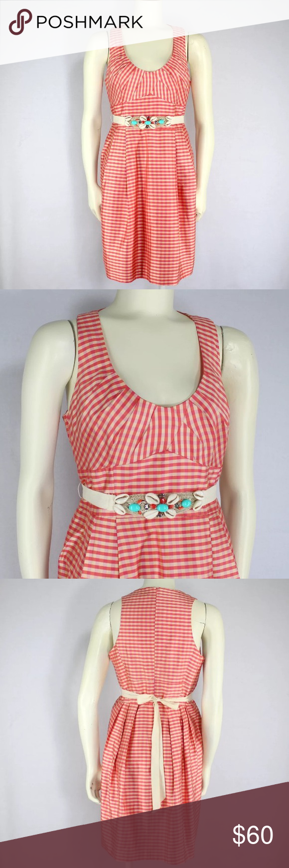 Nanette lenore coral pink check dress shell belt check dress