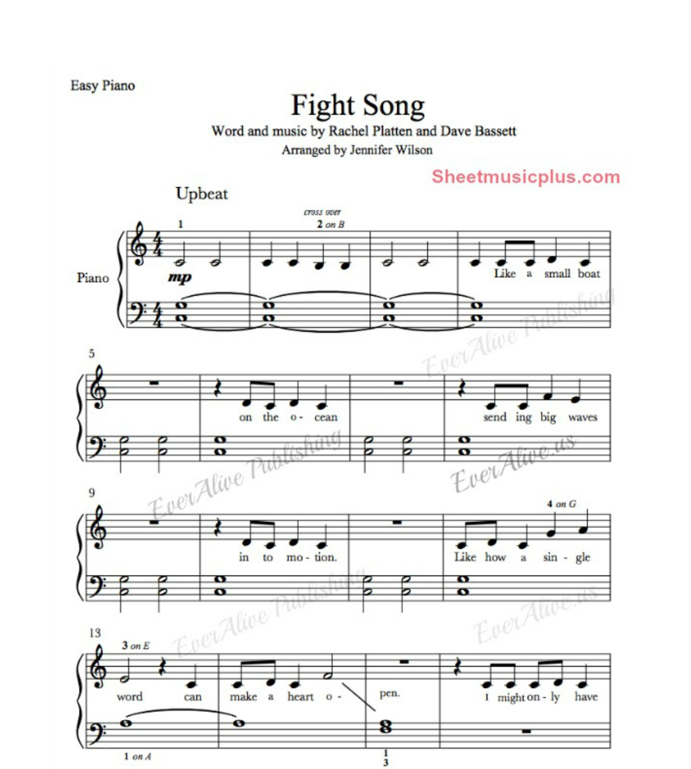 Fight Song Easy Piano Music Easypiano Music Piano Fightsong