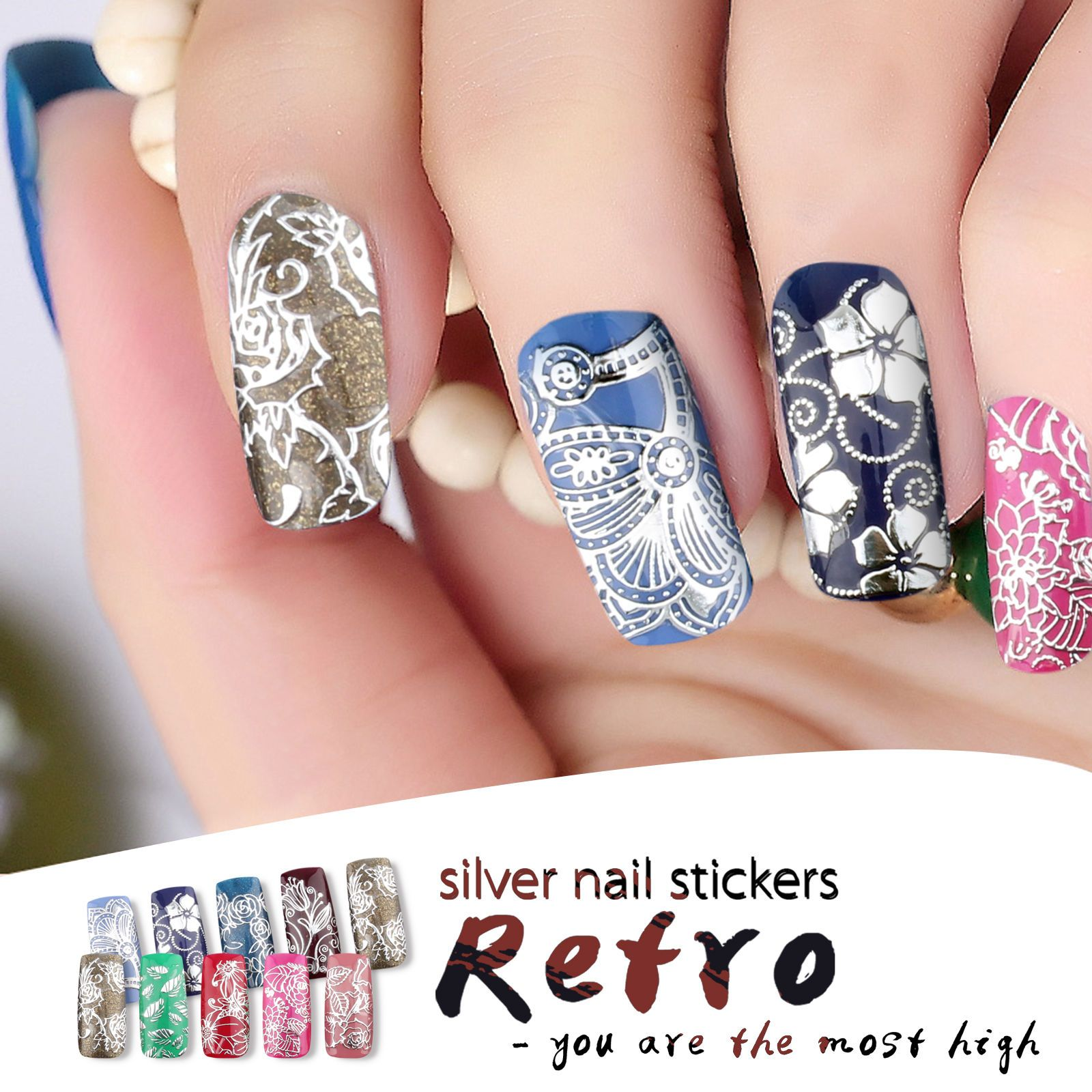 Fashion 108pcs 3D Silver Color Nail Decals Nail Art Stickers Gel ...