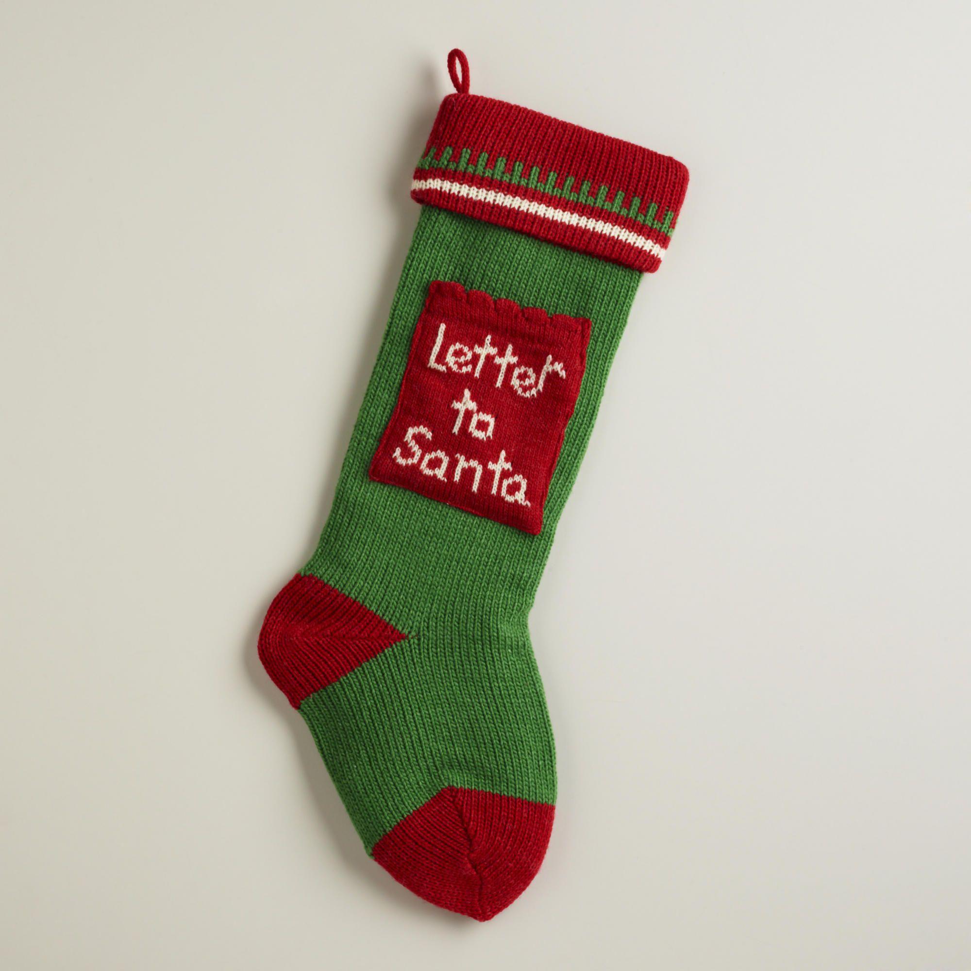 Letter To Santa Knit Stocking - World Market