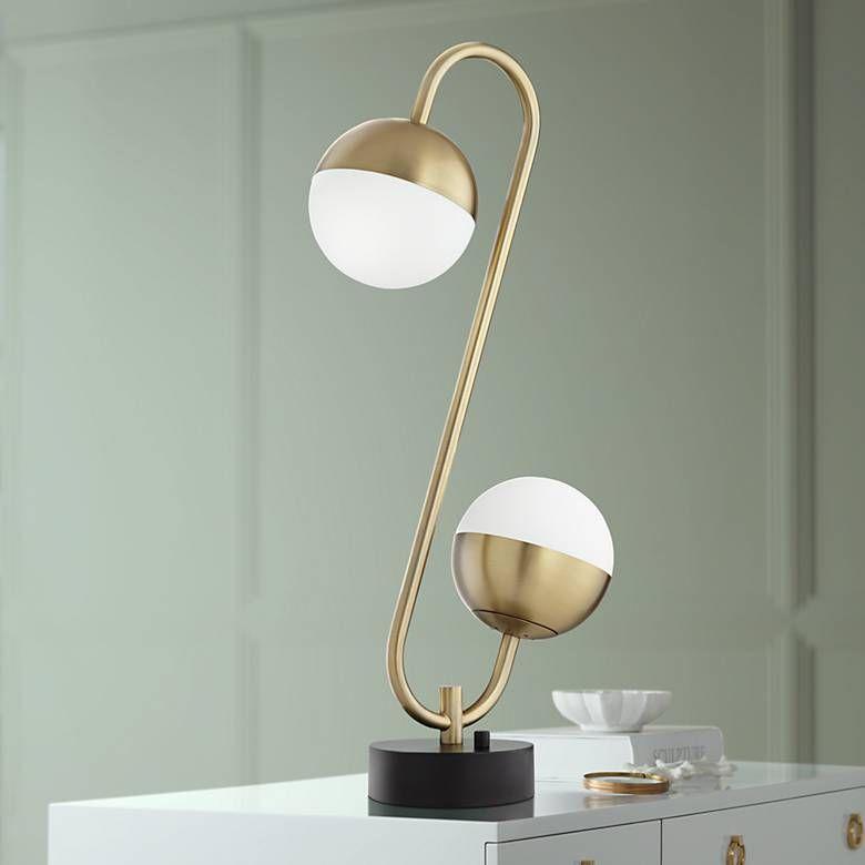 Possini Euro Kara Brass 2 Light Globe Led Table Lamp 62f75 Lamps Plus Modern Table Lamp Led Table Lamp Table Lamp