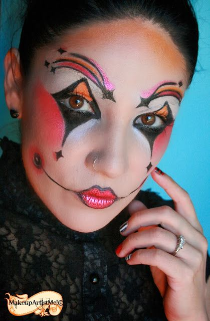 Make-up Artist Me! Harlequin costume makeup 3 part tutorial - halloween ideas for 3