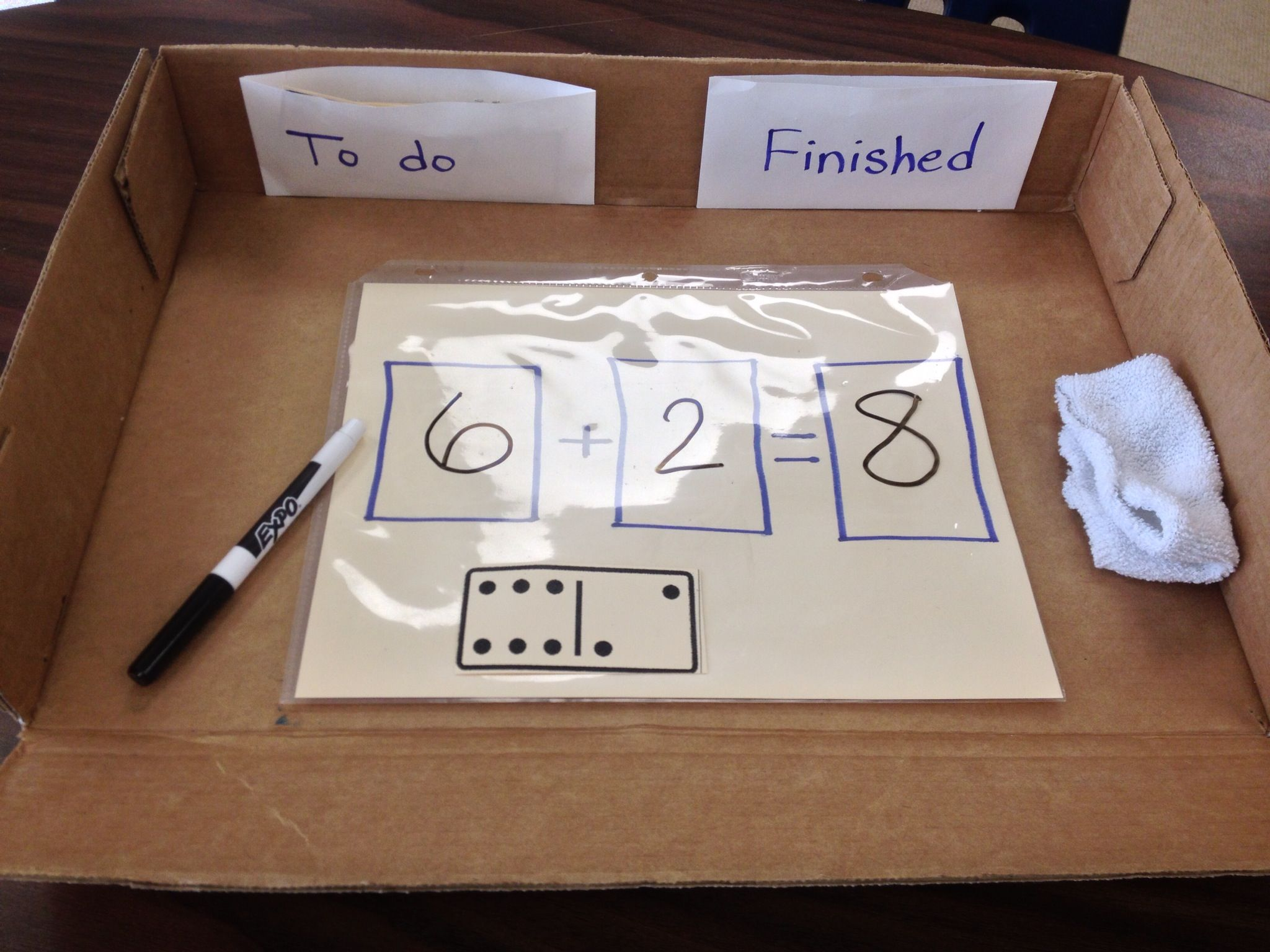 Domino Math Task Using A Sheet Protector Dry Erase Marker And Clean Sock Enables This Task To Be Reuse Able Enla Prek Classroom Math Tasks Kindergarten Math