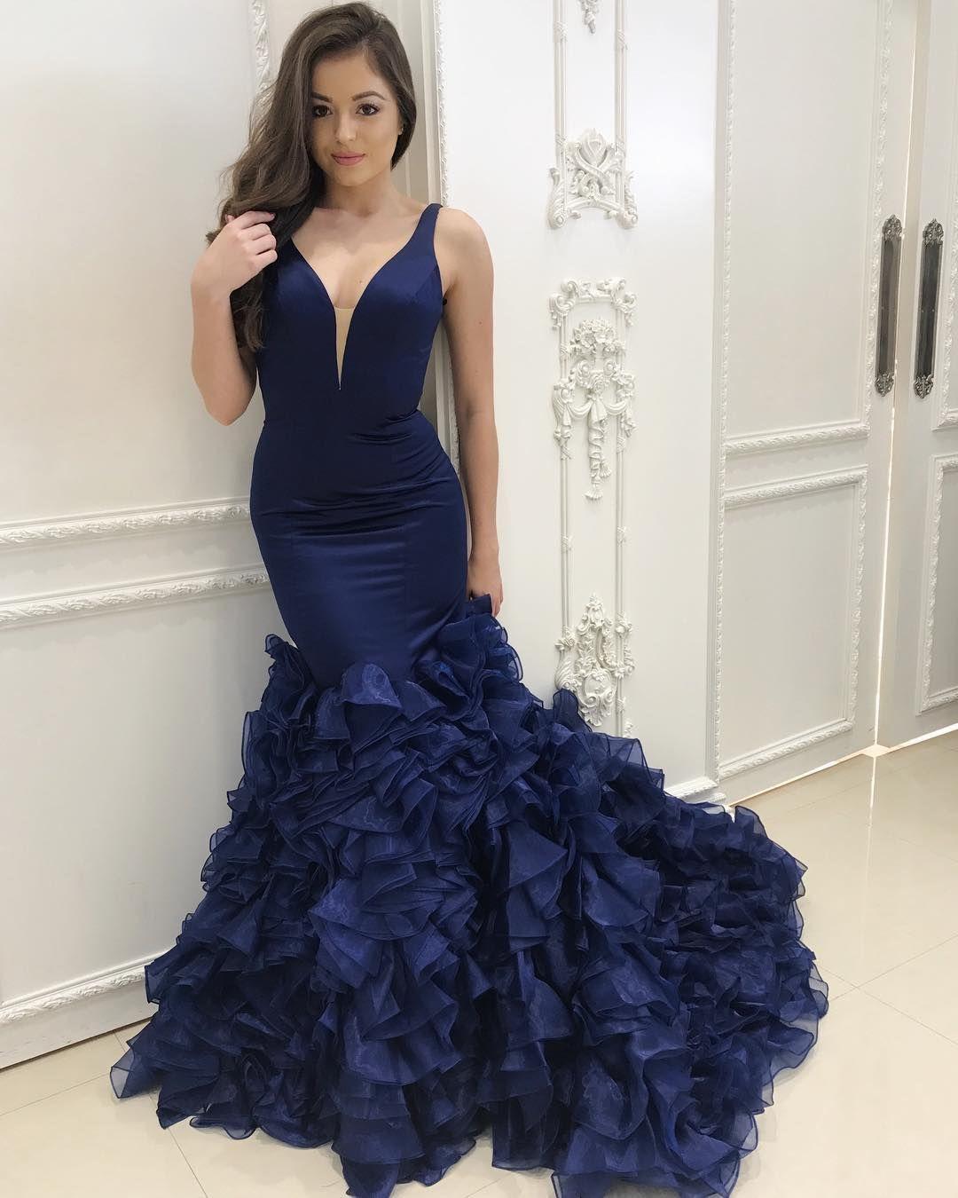 Navy blue mermaid evening dresses v neck sleeveless organza