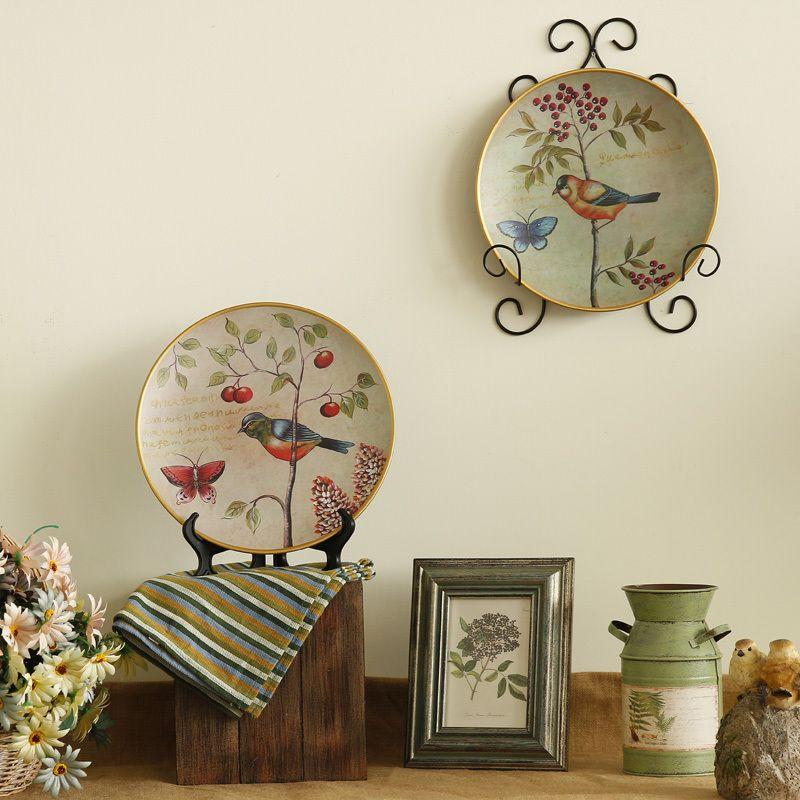 Jard n de estilo europeo village vintage pintados placa for Adornos para el hogar