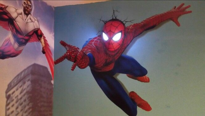 spiderman wall sticker with 3d wall light | hapstrase | pinterest