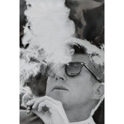 President John F Kennedy Smoking Archival Photo Poster Print