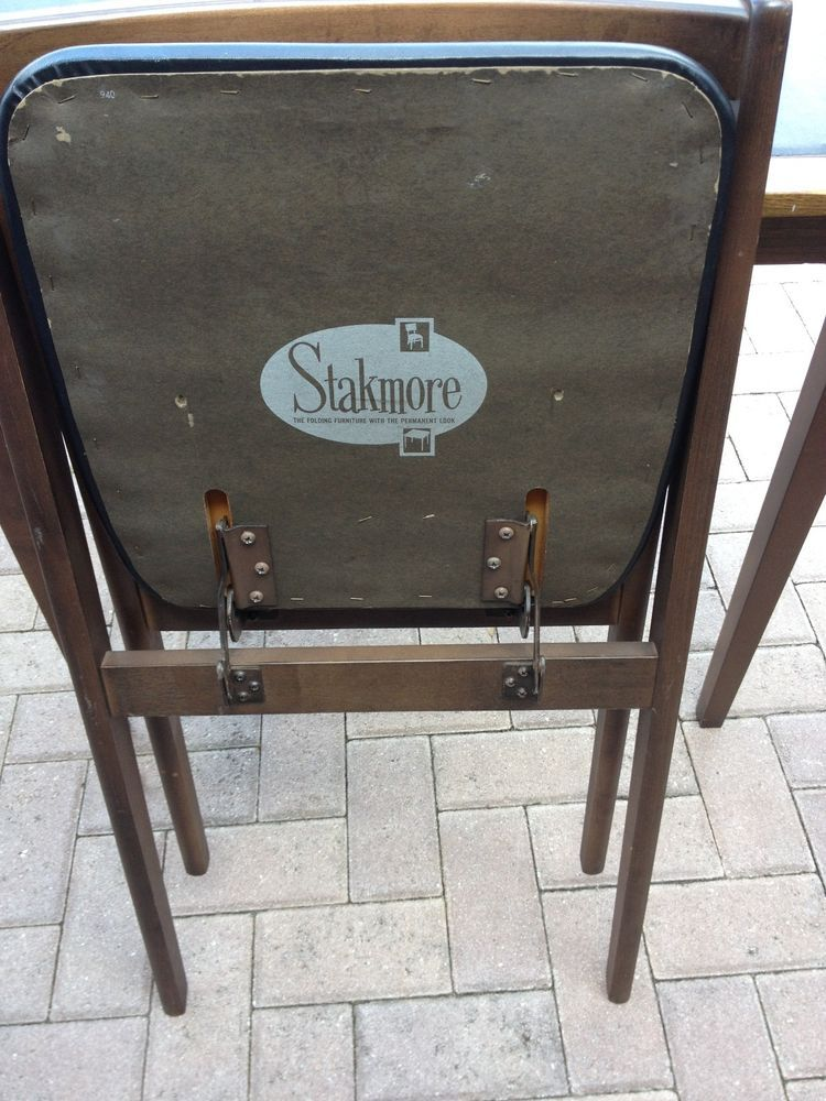 Antique 4 Stakmore Folding Chairs AND Matching Card Table #Stakmore