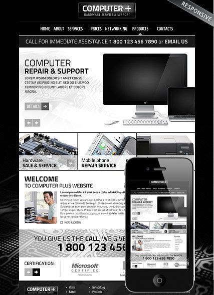 PC Repair v3.1 website template | Web design | Pinterest