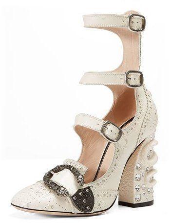 cf5340083 Gucci Triple-Strap Snake-Heel Pump, Mystic White   Fashion & Style ...