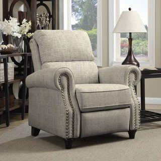 portfolio prolounger barley tan linen push back recliner chair