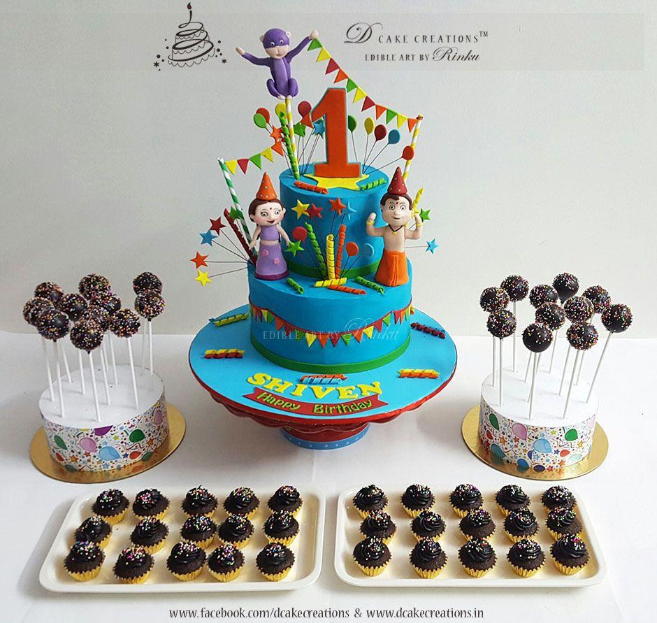 Chhota Bheem Birthday Cake With Cake Pops And Cupcakes D - Cake pop birthday cake