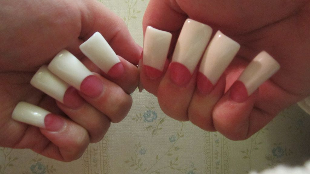 Pink & White long Permanent French manicure | 7. Double Team + ...