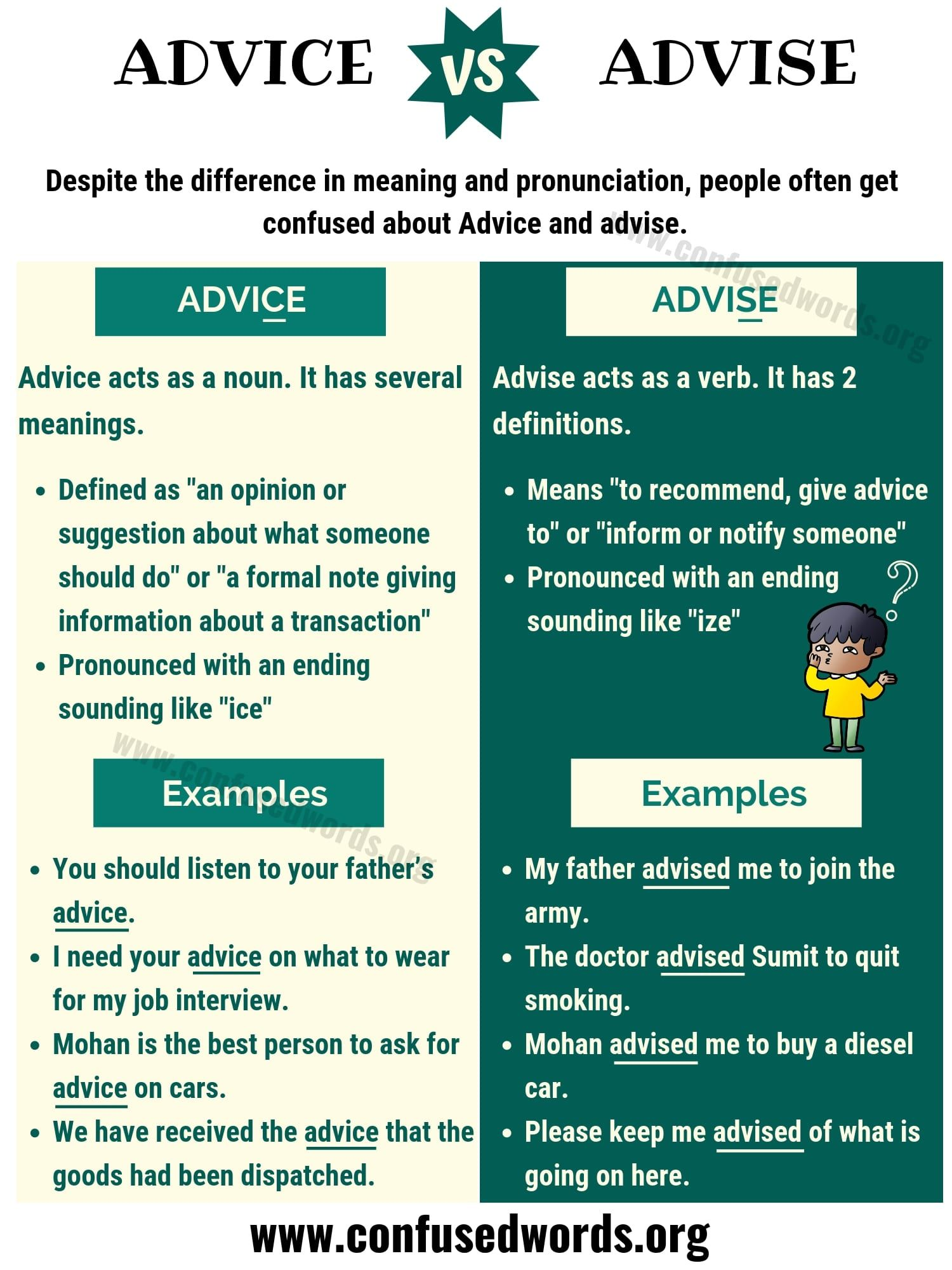 Advice Vs Advise Difference Between Advise Vs Advice